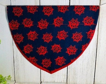 Dog Bandanna, Navy & Red Nautical, Slip On the Collar