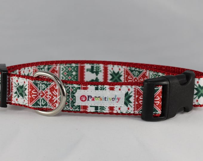 "1"" Ugly Christmas Sweater Dog Collar"