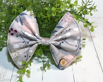 Bow, Light Gray, White Floral, Dog Accessory