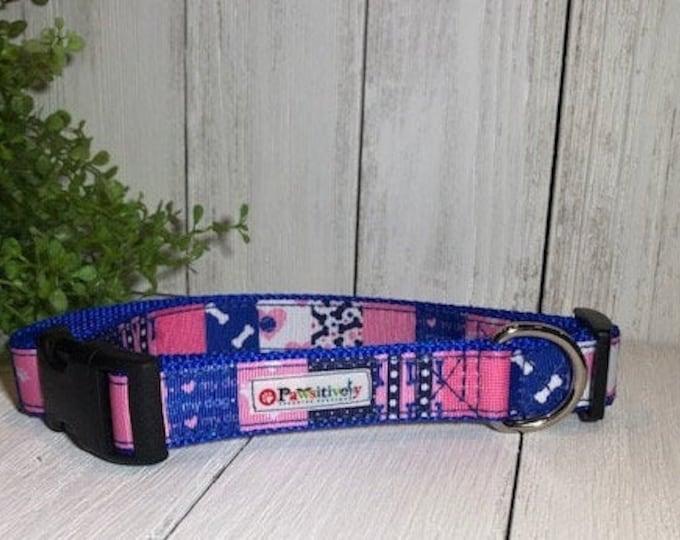 Pink & Royal Blue Dog Print, Dog Collar