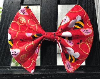 Pet Bow, Valentine's Day, Hearts, Bee Mine