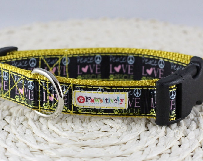 "Rescue Dog Collar ""Peace Love Rescue"""