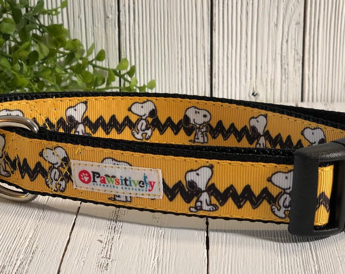 "Dog Collar 1"", Snoopy, Charlie Brown, Peanuts, Optional Matching Leash"