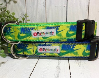 Dog Collar, Nike Ribbon with Matching Leash Option