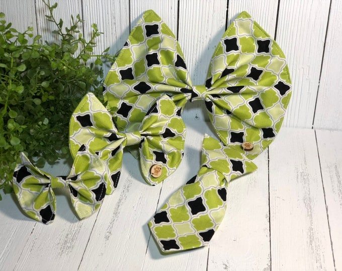 Pet Bow, Green, Black, Geometric, Pet Accessory