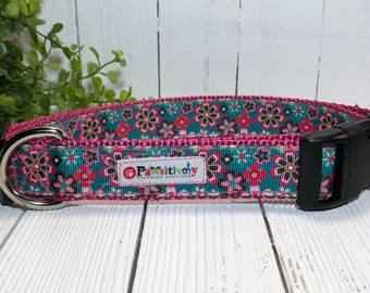 Dog Collar Pink and Green Flowered Ribbon