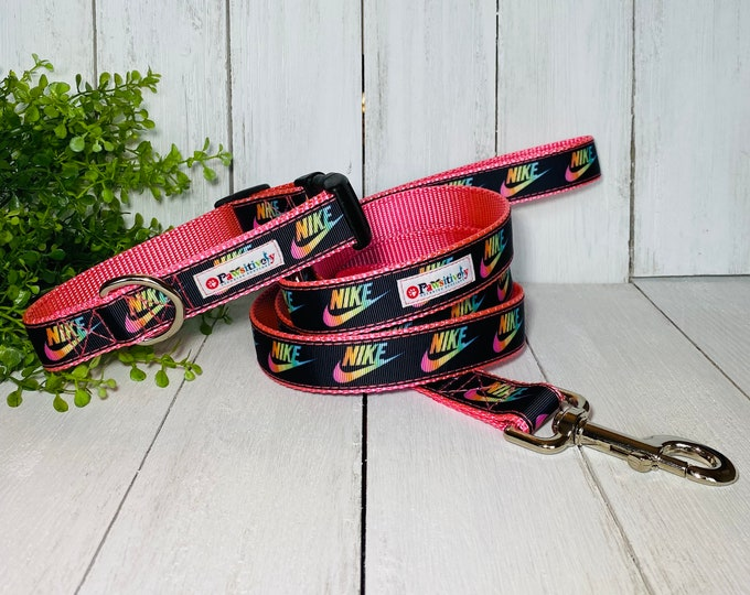 Pink Nike Collar & Leash Combo