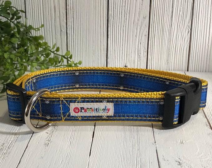 "Denim Ribbon Dog Collar 1"", Optional Matching Leash"
