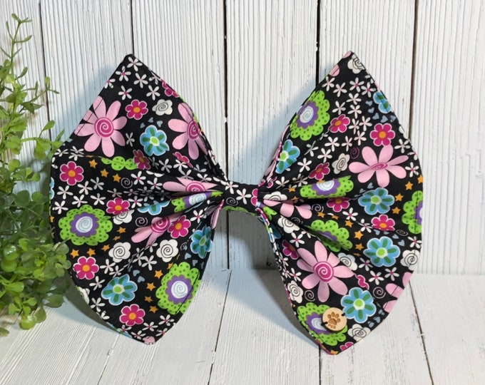 Bow, Bright Floral on Black, Dog Accessory