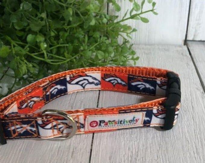 """Denver Broncos Squares, 5/8""""Dog Collar"""