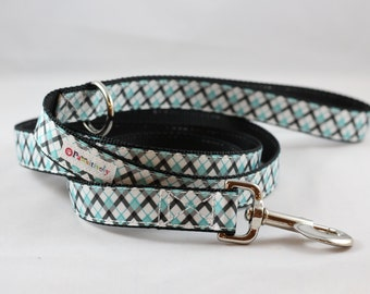 Pet Leash Teal/White/Black Plaid