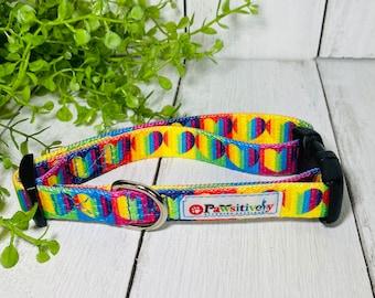 """Rainbow Heart 5/8"""" Webbing Dog Collar"""