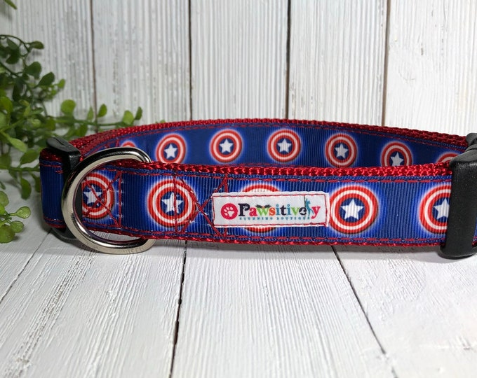 Dog Collar Captain America, Red, White and Blue with Matching Leash Option