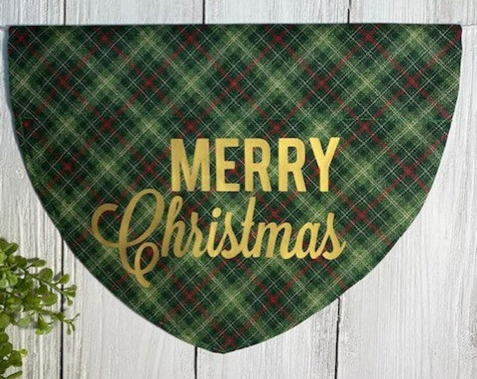 Merry Christmas (gold) Personalized Bandanna,  Slip On the Collar