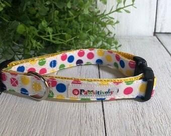 "Bright Polka Dot, 5/8""Dog Collar"