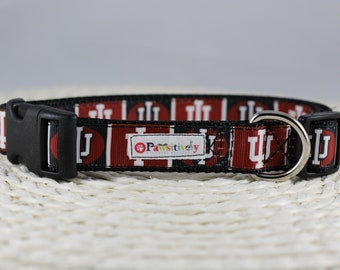 "Indiana University Dog Collar, Optional Matching Leash, 1"" wide"
