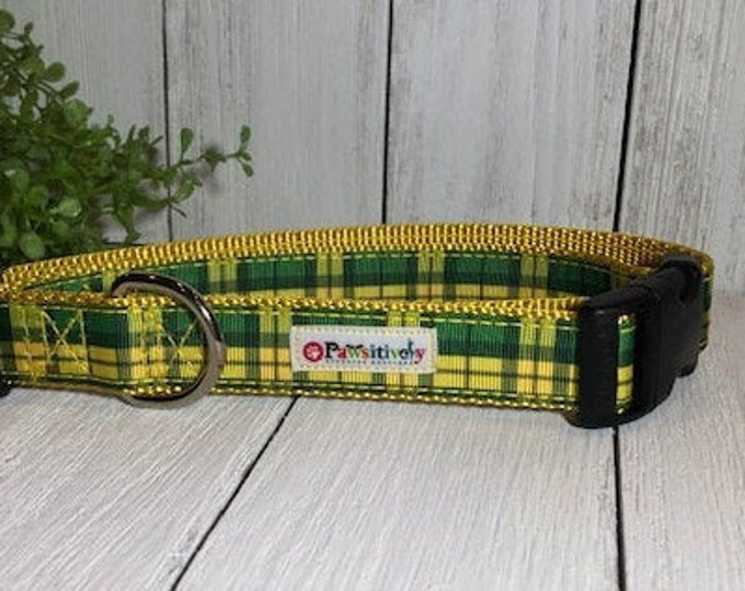 Green & Yellow Plaid, Dog Collar