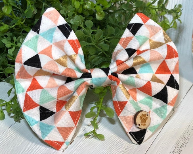 Bow, Geometric, Peach, Teal, Black, Gold, Pet Accessory