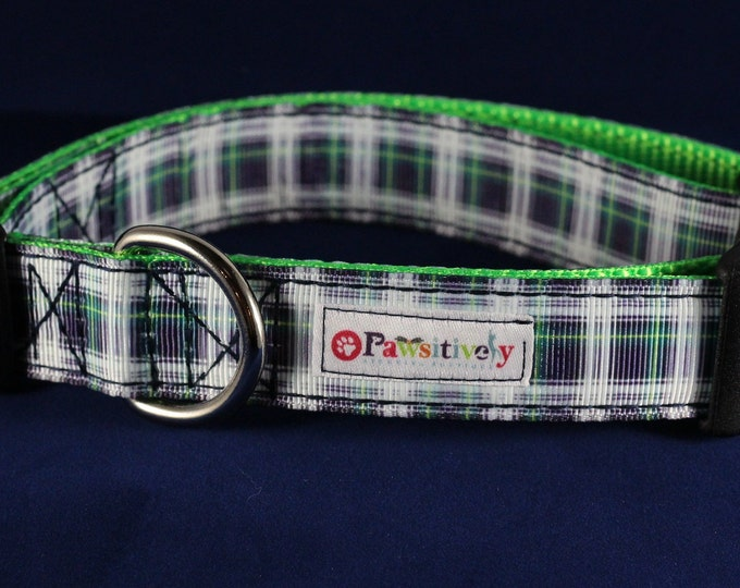 "1"" Blue/Green Plaid Dog Collar"
