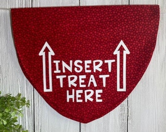 Insert Treat Here Personalized Bandanna,  Slip On the Collar