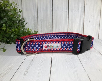 Dog Collar Red, White and Blue, Stars and Stripes, Patriotic with Matching Leash Option