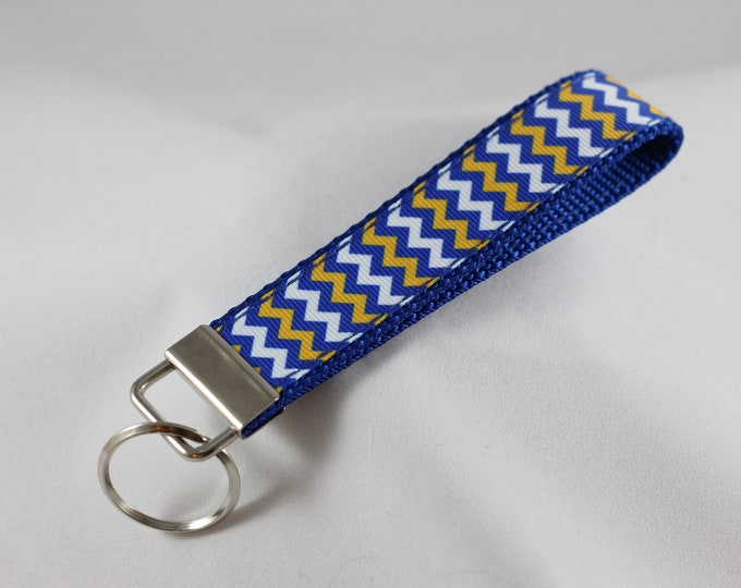 Blue/Gold Chevron Key Chain
