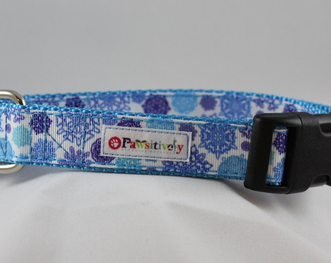 "Blue Snowflake 1"" Dog Collar"