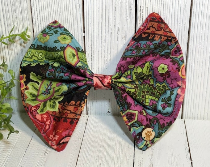 Bow, Paisley, Floral, Multi Colors, Pet Accessory