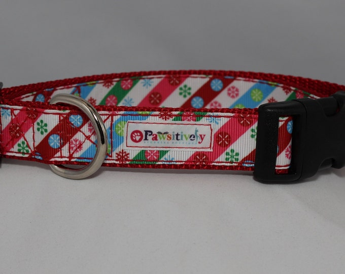 "Colorful Christmas 1"" Dog Collar"