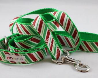 Pet Leash Christmas Stripes