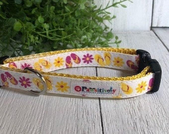 "Summer Flip Flop, 5/8"" Dog Collar"