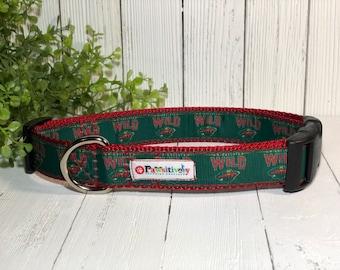 "Minnesota Wild, Dog Collar, Matching 6 ft. Leash Option, 1"" Wide"