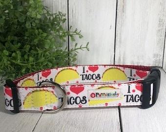 """I Love Tacos, 1"""" Dog Collar"""