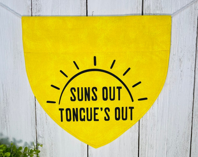 Suns Out Tongue's Out Personalized Bandanna,  Slip On the Collar