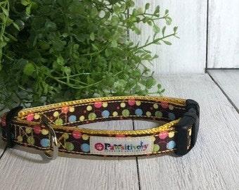 "Brown with Bright Polka Dots, 5/8""Dog Collar"