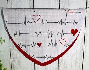 Dog Bandanna, Red Heart Beat, Slip On the Collar
