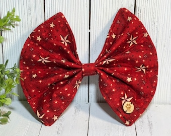 Pet Bow, Red Star, Multiple Sizes, Pet Accessory