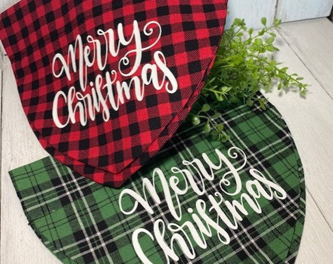 Merry Christmas Personalized Bandanna,  Slip On the Collar