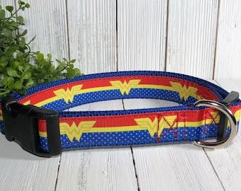 Dog Collar, Wonder Woman, with Matching Leash Option