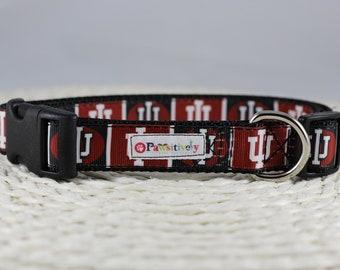 "Indiana University Dog Collar, Optional Matching Leash, 1"" wide"