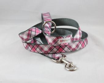 Pet Leash Pink / Gray Plaid