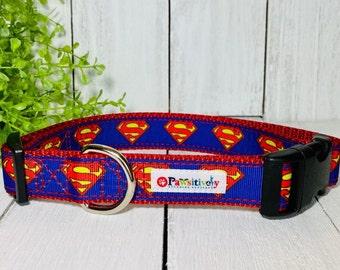 "Superman  Super Hero Dog / Pet Collar 1"""