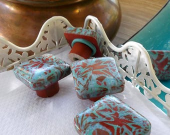 Furniture, square polymer clay in shades of turquoise, green and copper buttons