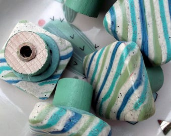 Buttons of furniture, square polymer clay in shades of turquoise, lime green, blue and beige