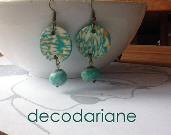Bohemian earrings, polymer clay, in shades of ecru, yellow ochre and green turquoise water