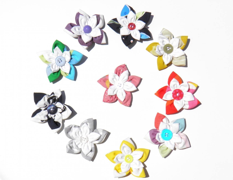 lot de 10 fleurs en tissu a coudre ou a coller lot 5 etsy. Black Bedroom Furniture Sets. Home Design Ideas