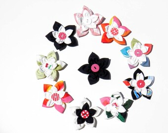 Set of 10 fabric flowers to sew or paste - set 4