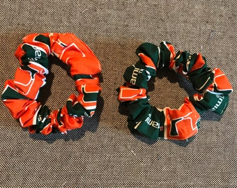 Set of 2 University of Miami Hurricanes hair scrunchies College NCAA scr77