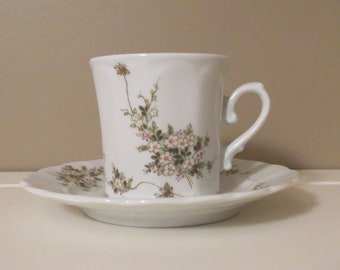 Eschenbach  Bavaria Germany, White Porcelain Demitasse, Cup and Saucer, Green Ivy