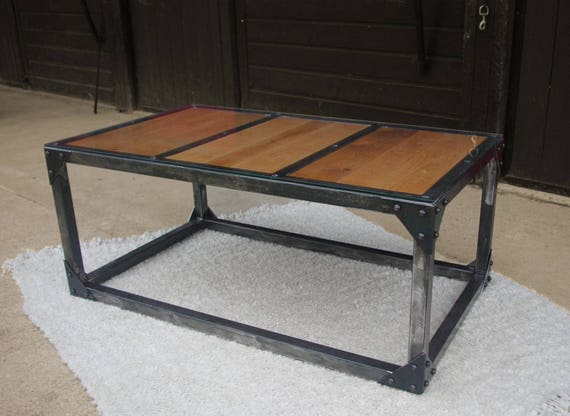 Low Wood Table Riveted Glass Etsy